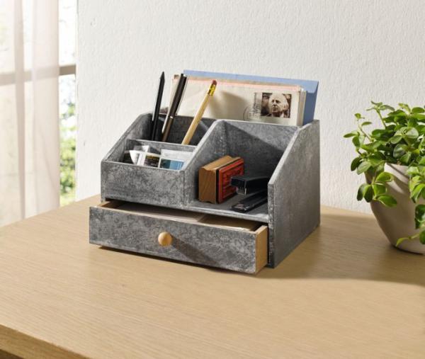 organizer 39 zementoptik 39 grau aus holz schreibtisch ablage brief aufbewahrung neu kaufen bei. Black Bedroom Furniture Sets. Home Design Ideas