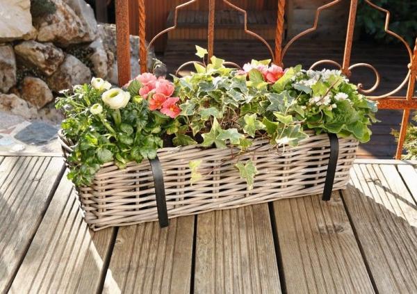 Balkon Pflanzer Rattan Gross Pflanzkorb Blumenkorb Balkon