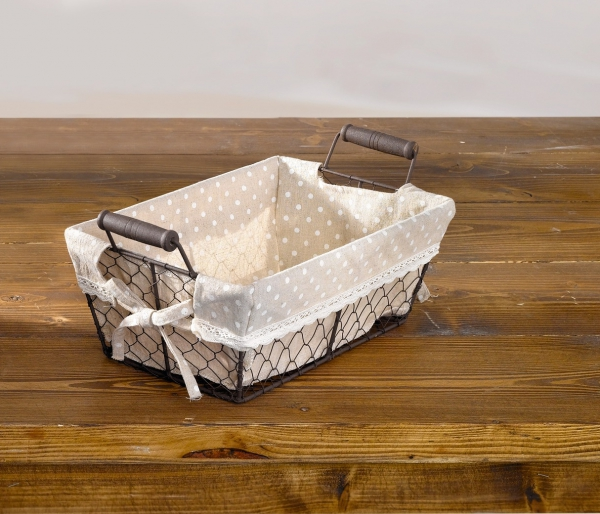 korb p nktchen eckig metall draht korb mit stoff. Black Bedroom Furniture Sets. Home Design Ideas