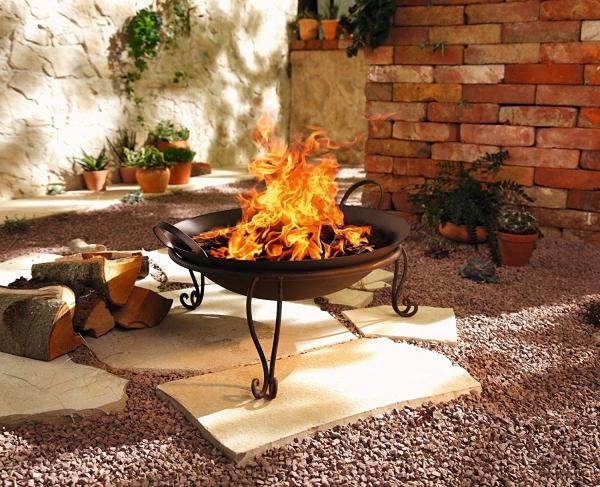 2tlg Feuerschale Rostoptik Metall Feuerkorb Terrasenofen Grill
