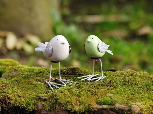 2er Deko Figur \'piepmatz\' Vogel Figur Keramik Garten Terrasse Deko ...