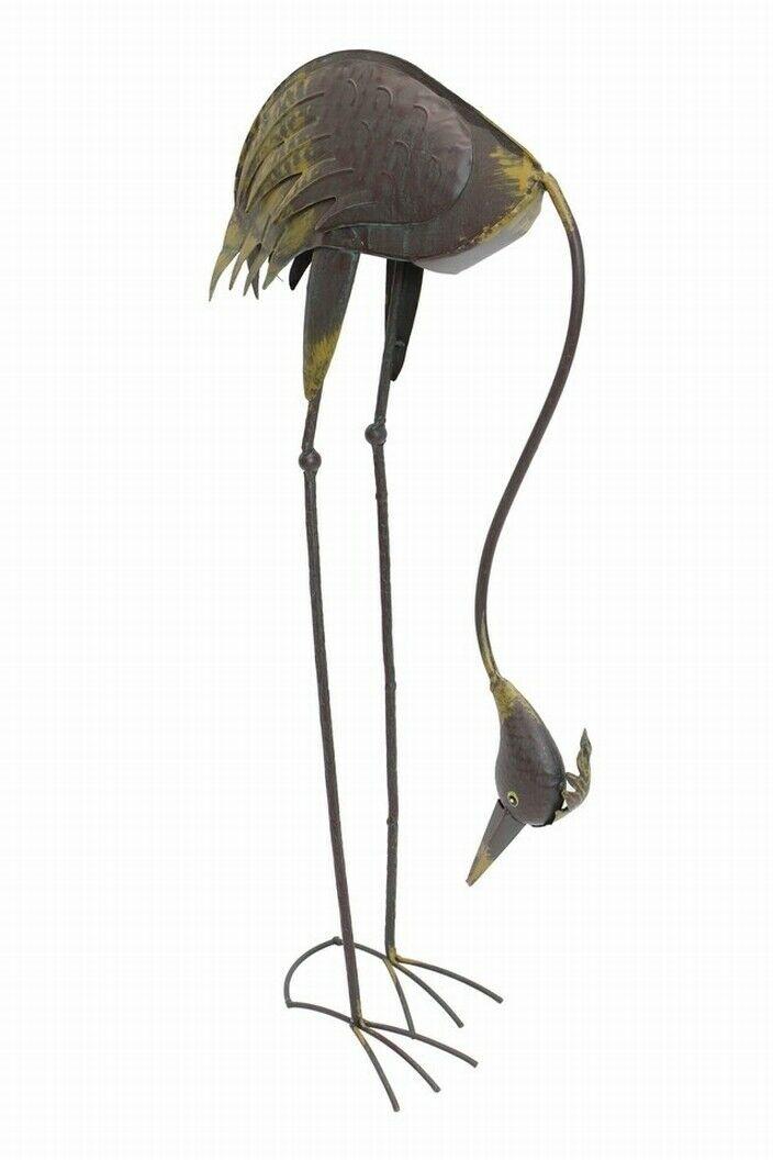 """Metall Fischreiher /""""Gebückt/"""" Reiher Schreck Garten Fisch Teich Deko Figur"""