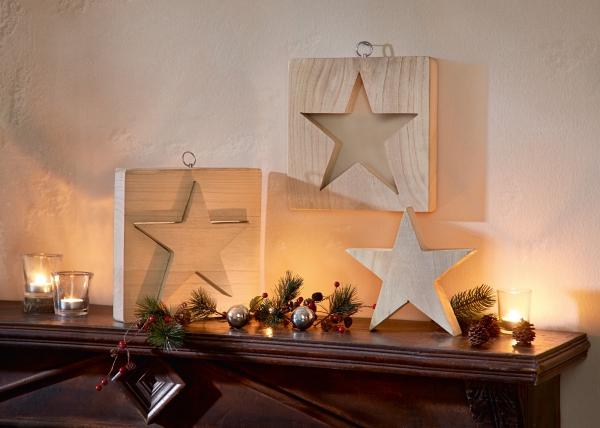 2tlg Hänger Stern In Stern Holz Wand Deko Schmuck Weihnachten