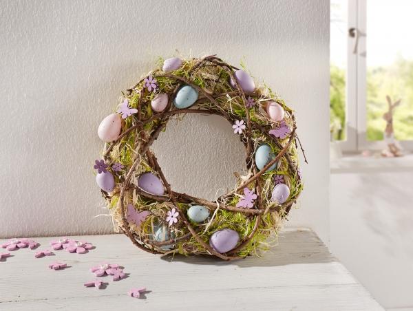 Osterkranz 39 violetta 35 cm deko kranz ostern naturmaterialien holz reisig kaufen bei - Osterkranz deko ...