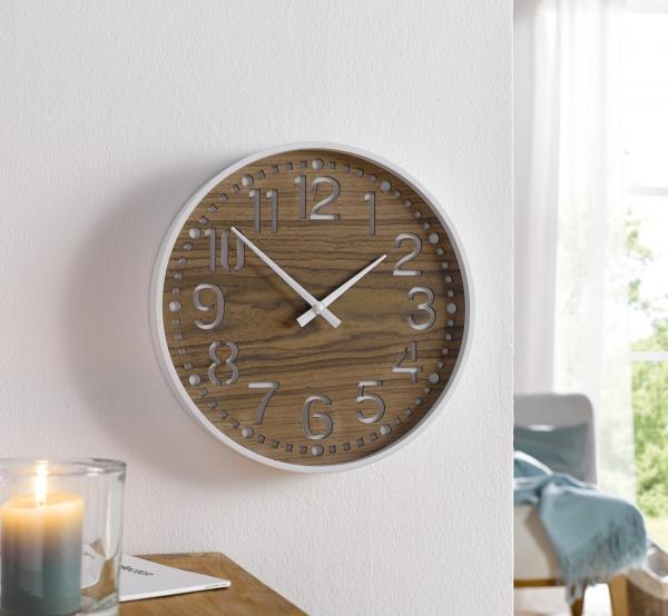 Wand Uhr Holzoptik Analog Uhr Kuchenuhr Wohnzimmer Deko Kaufen