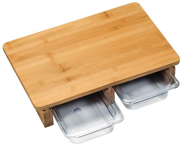kesper schneidebrett aus fsc bambus holz mit 2 auffang schalen beh lter kaufen bei come4buy gmbh. Black Bedroom Furniture Sets. Home Design Ideas