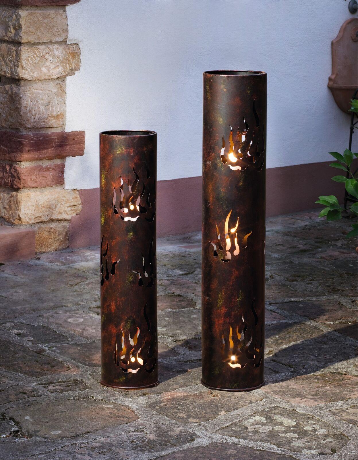 "2er Set Windlicht Säule /""Flammen/"" aus Metall Kerzen Halter Garten Laterne Lampe"