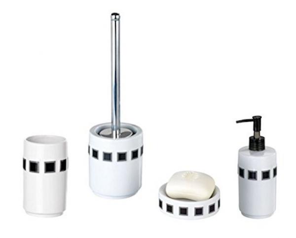 4tlg wenko bad set aus porzellan mosaik wei schwarz wc. Black Bedroom Furniture Sets. Home Design Ideas