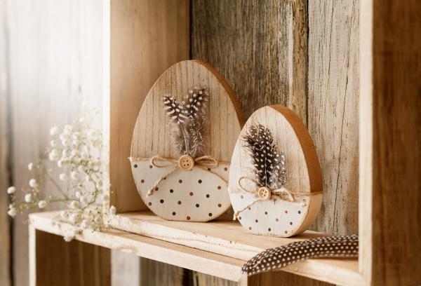 2er Holz Ei Feder Ostereier Osterdeko Ostern Deko Figur Tisch