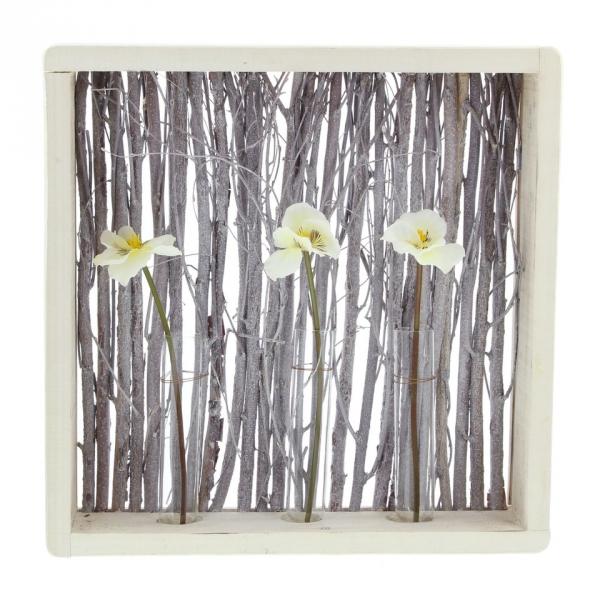 holz deko 39 zweige mit vasen aus holz objekt tisch. Black Bedroom Furniture Sets. Home Design Ideas