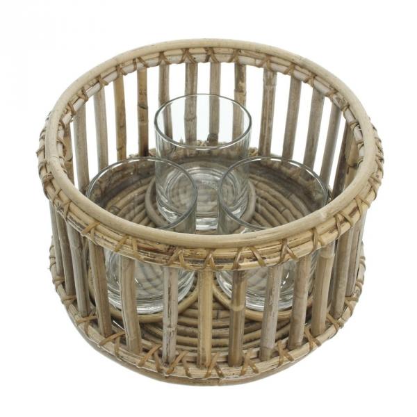 4tlg Windlicht Set Rattan Glas Kerzen Halter Stander Teelicht