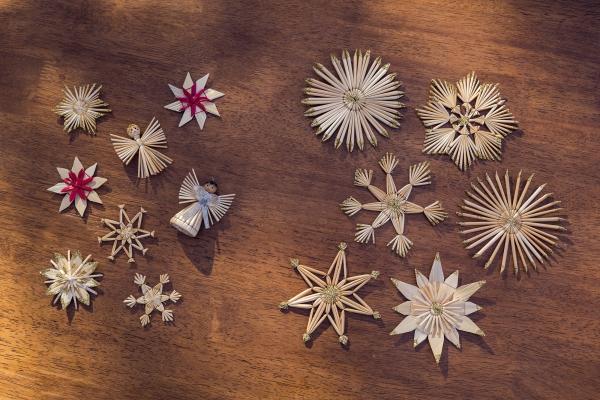 18er Stroh Sterne Glitzergold Hanger Weihnachten Deko