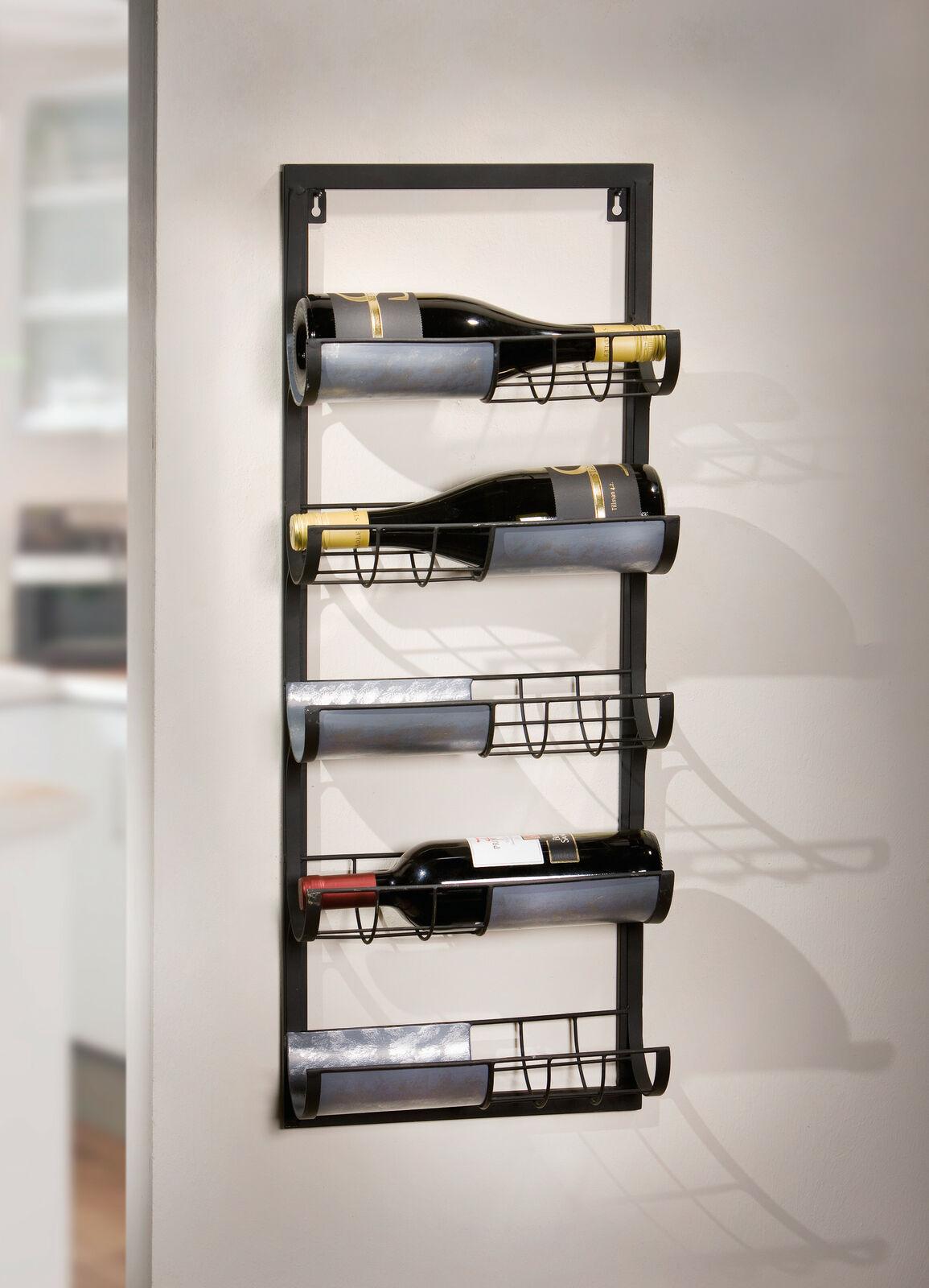 Wein Regal Industrial Aus Metall Schwarz Fur 5 Flaschen Hange Wand Halter Kaufen Bei Come4buy Gmbh
