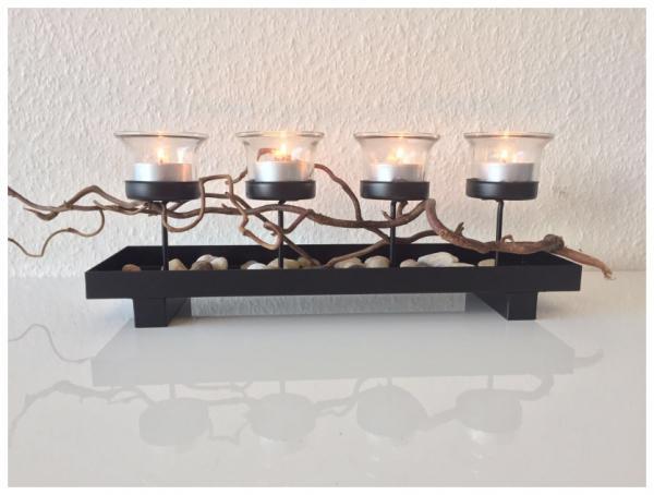 Teelichtboard für 4 teelichter glas kerzenhalter tischdeko