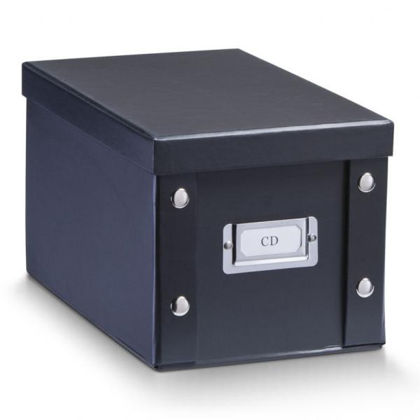 2x zeller cd box mit deckel schwarz f r 20 cd 39 s aufbewahrung kiste karton case kaufen bei. Black Bedroom Furniture Sets. Home Design Ideas