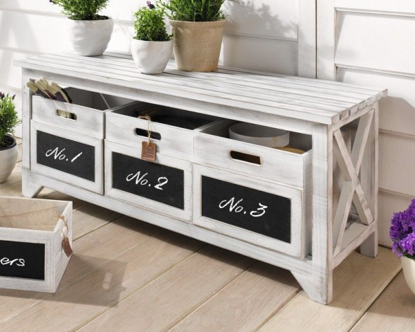 bank sitzbank holz wei flurbank kommode mit schubf chern holzbank shabby neu kaufen bei. Black Bedroom Furniture Sets. Home Design Ideas