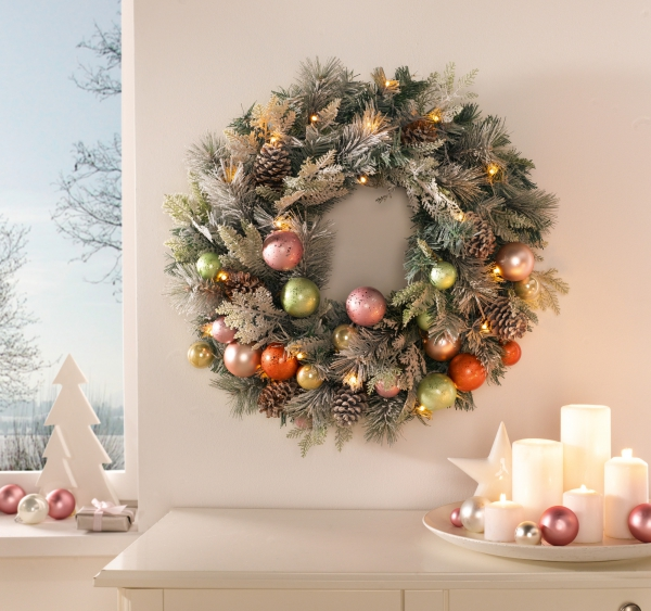 Led Kranz Schnee Pastell O 65 Weihnachten Advent Deko Hange Wand Tur Schmuck
