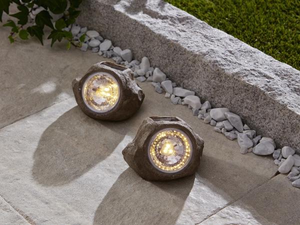 2er set solar stein 39 spot garten deko led aussen lampe. Black Bedroom Furniture Sets. Home Design Ideas