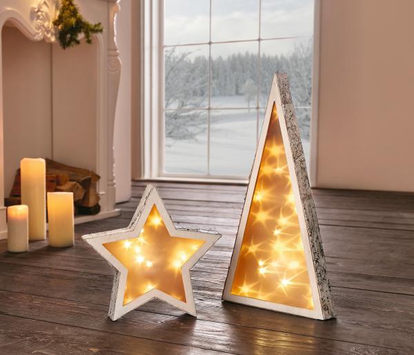 Led Stern 3d Effekt Holz Deko Fenster Stimmungs Licht Weihnachten