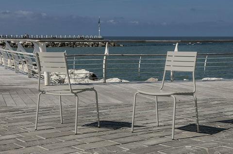 2x Stuhl Stapelbar Metall Beige Garten Terrasse Balkon StÜhle Sessel Set - Vorschau 2