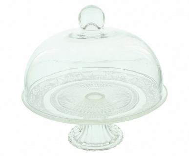 """Servier Platte """" Kristall"""" mit Glocke & Fuß, 20x19 cm, Speise Glocke Glas Haube - Vorschau 2"""