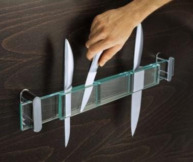 DESIGN GLAS MESSERHALTER 55cm MESSERLEISTE MESSER AUFBEWAHRUNG KÜCHEN LEISTE
