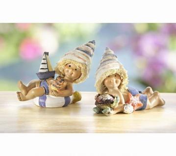 """2 Deko Figuren """" Strand Mädchen"""" mit Muschel Hut Boot Schildkröte Sommer Urlaub"""