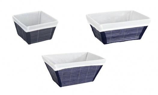 3er WENKO Korb Set Bambus blau, Brot Küchen Bad Kosmetik Utensilien Aufbewahrung