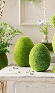 """2 Terracotta Eier """" Moos"""", grün, 16 + 20 cm hoch, Oster Deko Figur Osterei Set"""