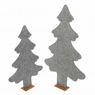 2er Set Deko Tanne aus Filz, grau, 82 + 63 cm hoch, Tannen Weihnachts Baum - Vorschau 2