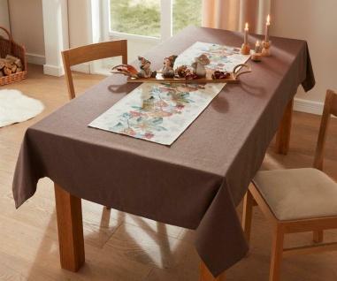 """Tafel Decke """" Mittelbraun"""" braun in Leinen-Optik 140x240 cm, Tisch Tuch Wäsche"""