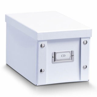 2x ZELLER CD BOX mit DECKEL weiß für 20 CD's AUFBEWAHRUNG KISTE KARTON CASE