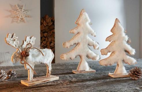 """3er Set Holz Figuren """" Winterwald"""" Deko Wild Skulpturen Tier und Tannen mit Fell"""