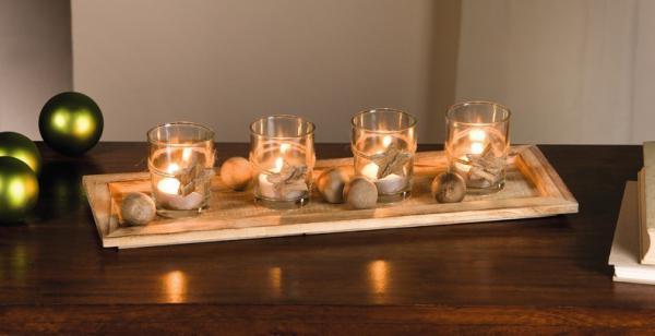 """10tlg. Windlicht """" Holzdeko"""" mit Holz Tablett und Glas Teelicht Kerzen Halter"""