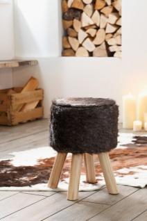 Design Hocker mit Kunst Fell Bezug, braun, Wohnzimmer Sitz Puff Pouf