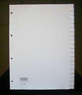 40x Hetzel Kunststoff Register A4 20 tlg. grau, Blanko Trennblätter