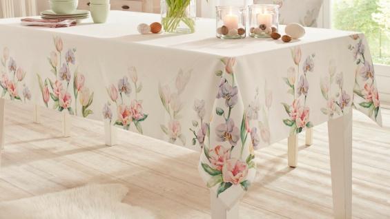 """Tafeldecke """" Tulpenliebe"""" 140x240 cm creme weiß Tisch Decke Tuch mit Blüten Motiv"""