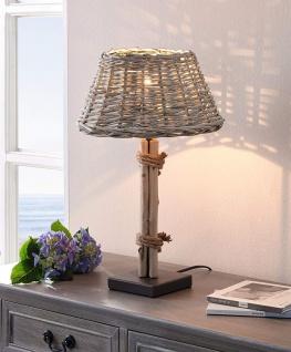 """Tischleuchte """" Treibholz """" mit Schirm aus Weide, Nacht Tisch Lampe Flecht Leuchte"""