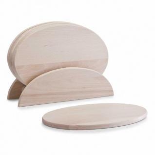 6 Zeller Frühstücks Brettchen aus Holz Buche mit Ständer, Brotzeit Vesper Brett