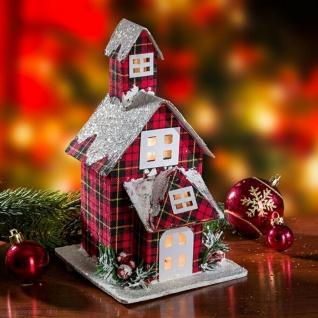 """Kirche """" Winter"""" rot kariert mit Beleuchtung Lichter Leucht Weihnachts Deko"""