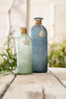 """2er Set Deko Vasen """" Maritim"""" aus Glas, blau & grün, Tisch Blumen Vase Flasche"""
