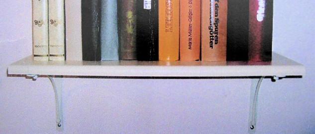 """Wand Regal Set """" Erfurt"""" 60x20 cm weiß, Board + 2 Konsolen Halterungen"""