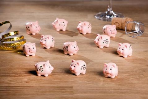 12 kleine Glücksschweinchen aus Terracotta, Glücksbringer Set Deko Figur Schwein
