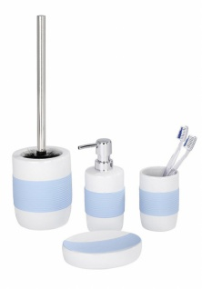 4tlg WENKO BAD SET Bahia weiß blau KERAMIK SOFT TOUCH WC GARNITUR SEIFENSPENDER
