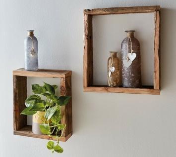 2 Wand Regale aus recyceltem Paletten Holz, Board Rahmen Würfel Shabby Vintage