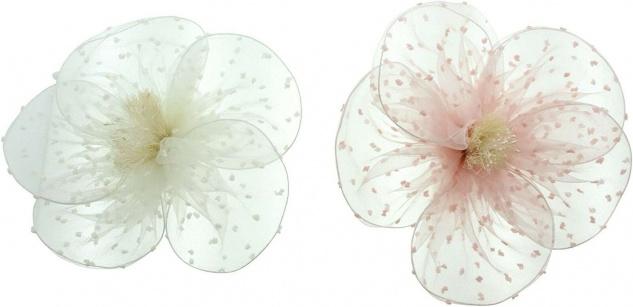 2 große Chiffon Blüten, weiß + rosa, Ø 20 cm, mit Clip, Textil Deko Kunst Blumen