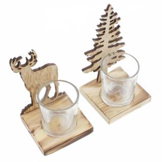 2er Teelicht Halter 'Tanne & Hirsch? Metall Kerzen Ständer Windlicht Weihnachten - Vorschau 3