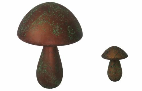 "GILDE 40759 + 40761 DESIGN PILZ "" Drop"" bronze grün aus Keramik DKEO SKULPTUR"