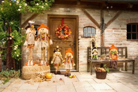 Figur 'Frau von Stroh? Vogelscheuche Herbst Deko Textil Garten Außen Dekoration