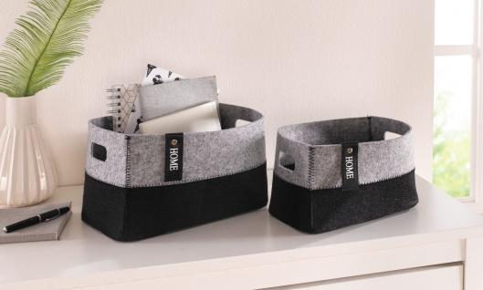 2 Körbe aus Filz, grau + schwarz, Griffe, Universal Bad Aufbewahrungs Regal Korb